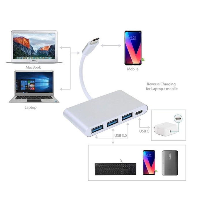 4-in-1 USB-C Hub Type C Multi-Port Charge & Connect Adapter 3x USB 3.0
