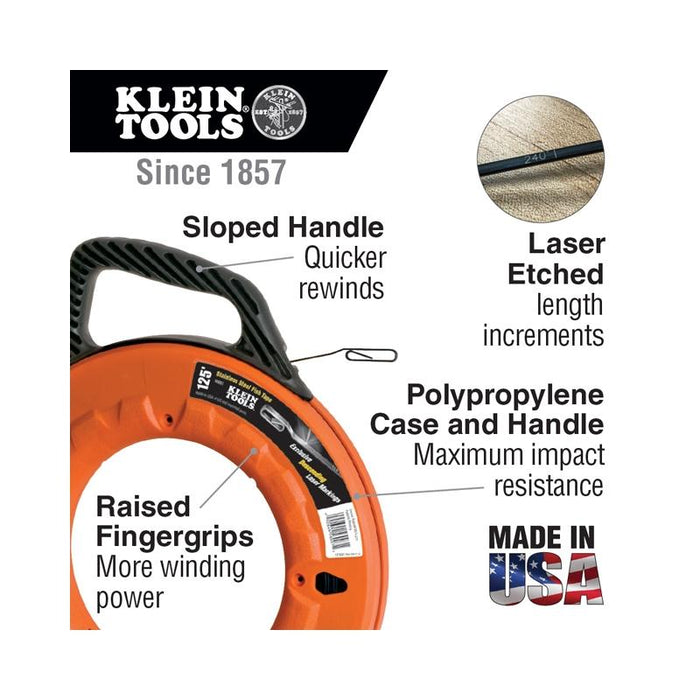 "Klein Tools 125ft Depth Finder High Strength 1/8"" Wide Steel Fish Tape"