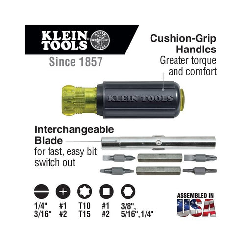 Klein Tools 32500 Screwdriver Nut Driver 11-in-1 Multi Tool Cushion Grip