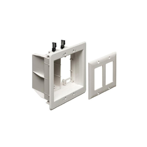 White 2 Gang Recessed TV Electrical Box for Power & Low Voltage TVBU505
