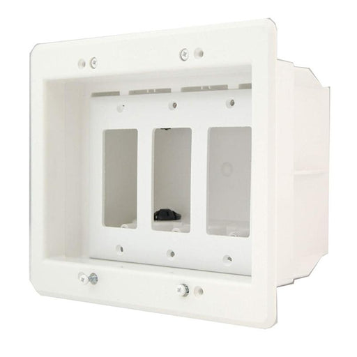 White 3 Gang Recessed TV Electrical Box for Power & Low Voltage TVBU507