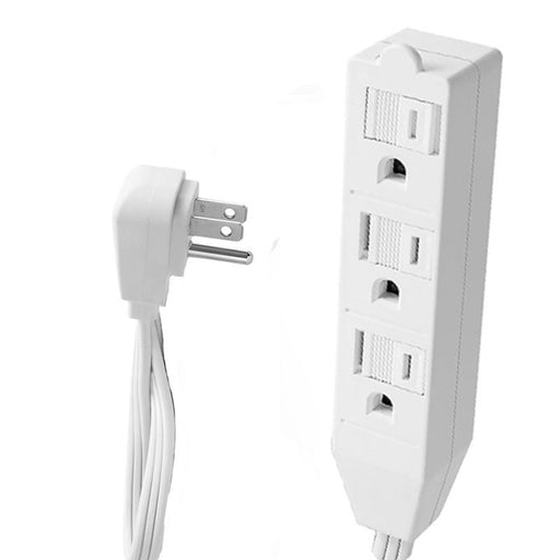 1.5 Feet White Heavy Duty Three Outlet Indoor Flat Plug Extension Cord