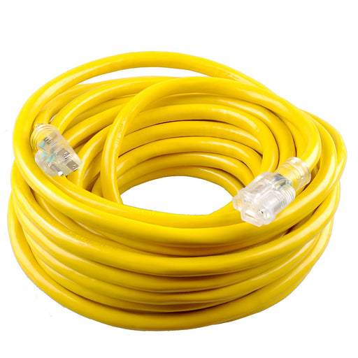 50 Feet Yellow Heavy Duty Single Outlet Indoor Outdoor Extension Cord