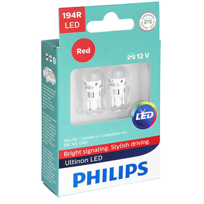 Philips 194 Ultinon Red LED Bulb Signal Brake Light OE Replace 2-Pack 194RULRX2