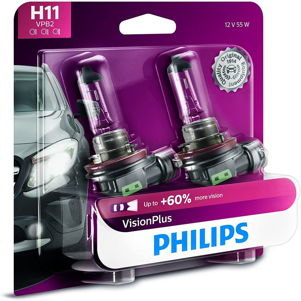 Philips 12362VPB2 H11 55 Watts Vision Plus Upgrade Headlight Bulb with 60% More Vision- Pack of 2