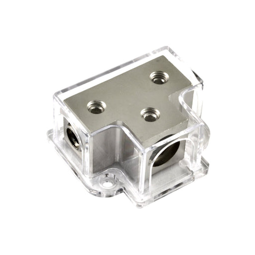 Nickel Plated 1/0 Gauge Input to 2 x 4 or 8 Gauge Out Power/Ground Distribution Block