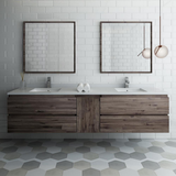 "Fresca Formosa 84"" Wall Hung Double Sink Modern Bathroom Vanity with Mirrors"