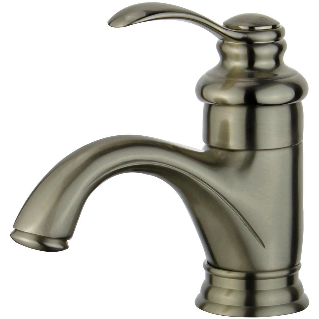 Barcelona Single Hole Single Handle Bathroom Faucet with Overflow Drain in Brushed Nickel
