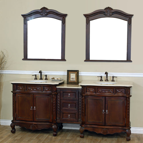 82.7 in. Double sink vanity-walnut-cream marble