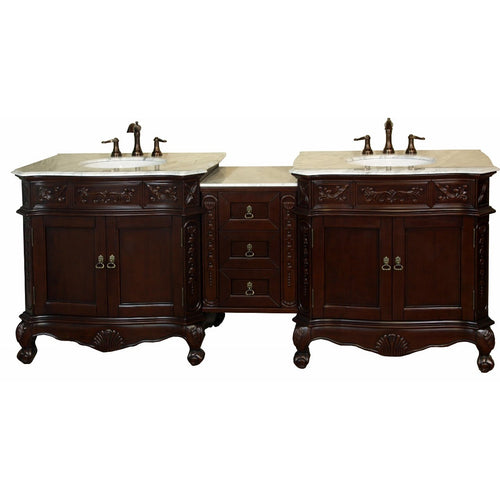 82.7 in. Double sink vanity-walnut-white marble