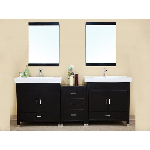 80.7 in Double sink vanity-wood-black