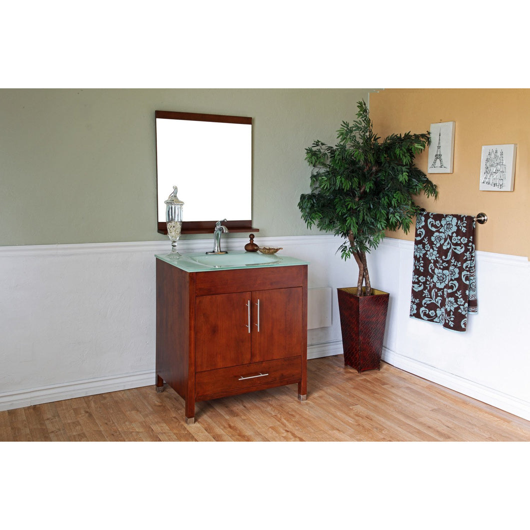 32.3 in Single sink vanity-wood-walnut