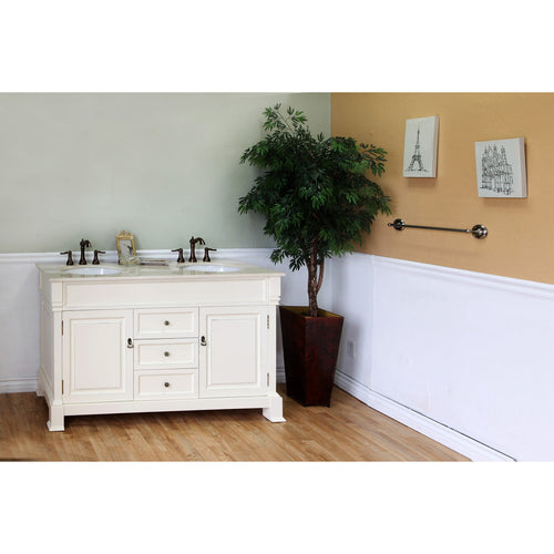 60 in Double sink vanity-wood-cream white