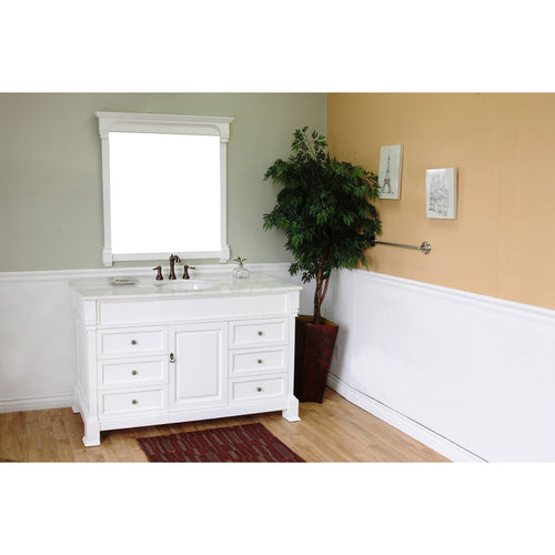 60 in Single sink vanity-wood-white