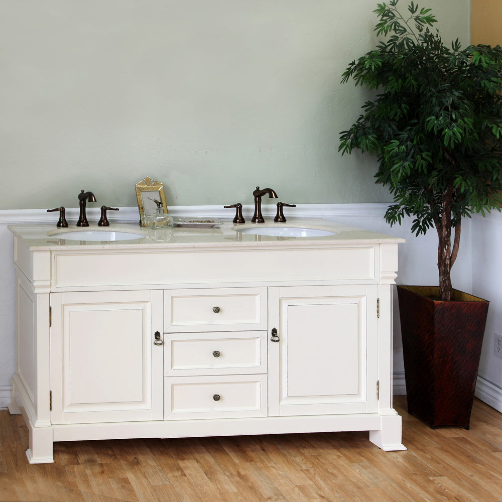72 in Double sink vanity-wood-cream white