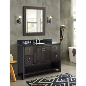 "49"" Single vanity in Silvery Brown finish top with Black galaxy and oval sink"
