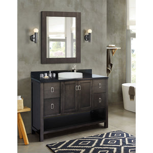 "49"" Single vanity in Silvery Brown finish top with Black galaxy and round sink"