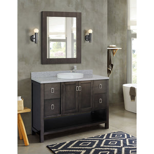 "49"" Single vanity in Silvery Brown finish top with Gray granite and round sink"