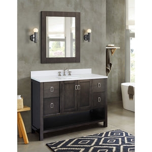 "49"" Single vanity in Silvery Brown finish top with White quartz and oval sink"