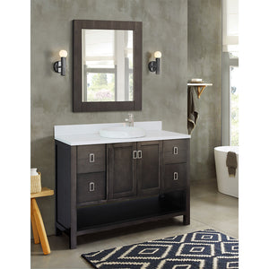 "49"" Single vanity in Silvery Brown finish top with White quartz and round sink"