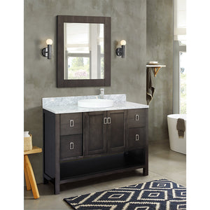"49"" Single vanity in Silvery Brown finish top with White Carrara and round sink"