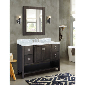 "49"" Single vanity in Silvery Brown finish top with White Carrara and rectangle sink"