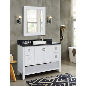 "49"" Single vanity in White finish top with Black galaxy and round sink"