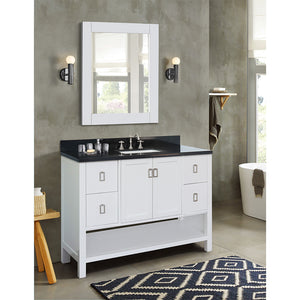 "49"" Single vanity in White finish top with Black galaxy and rectangle sink"
