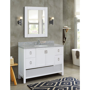 "49"" Single vanity in White finish top with Gray granite and oval sink"