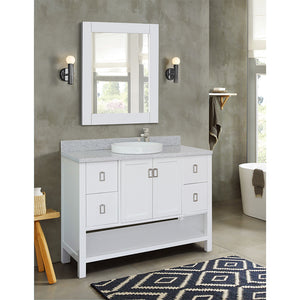 "49"" Single vanity in White finish top with Gray granite and round sink"