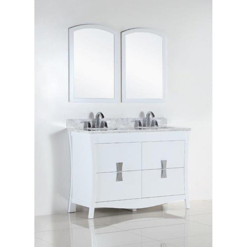 48 in. Double sink vanity with white carrara top