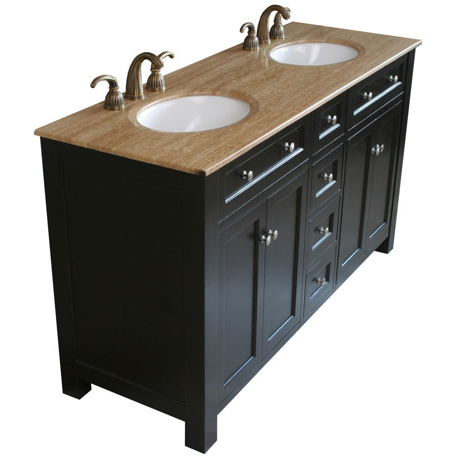 62 in Double sink vanity wood-black