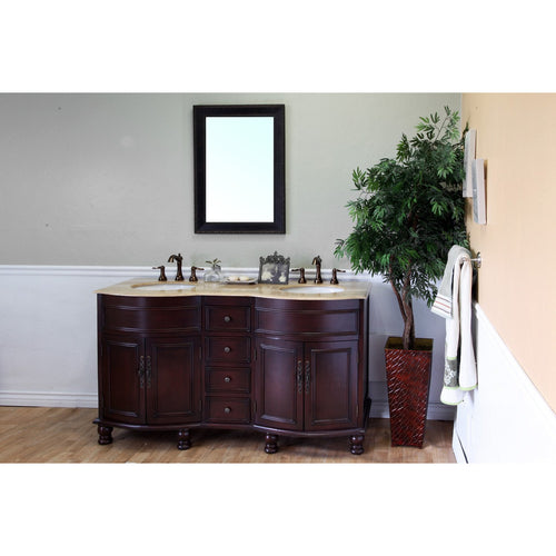 62 in Double sink vanity-wood-walnut-travertine