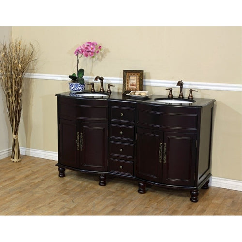 62 in Double sink vanity-dark mahogany-black  galaxy