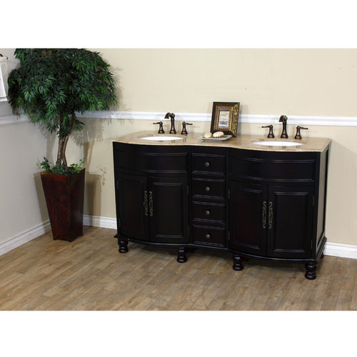 62 in Double sink vanity-dark mahogany-Travertine
