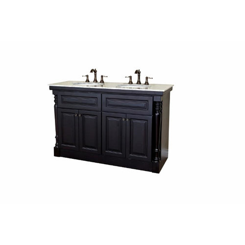 55 in Double sink vanity-dark mahogany