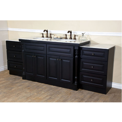 93 in Double sink vanity-dark mahogany
