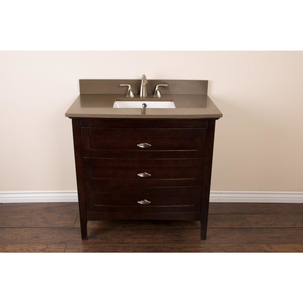 36 in Single sink vanity in sable walnut with quartz top in Taupe