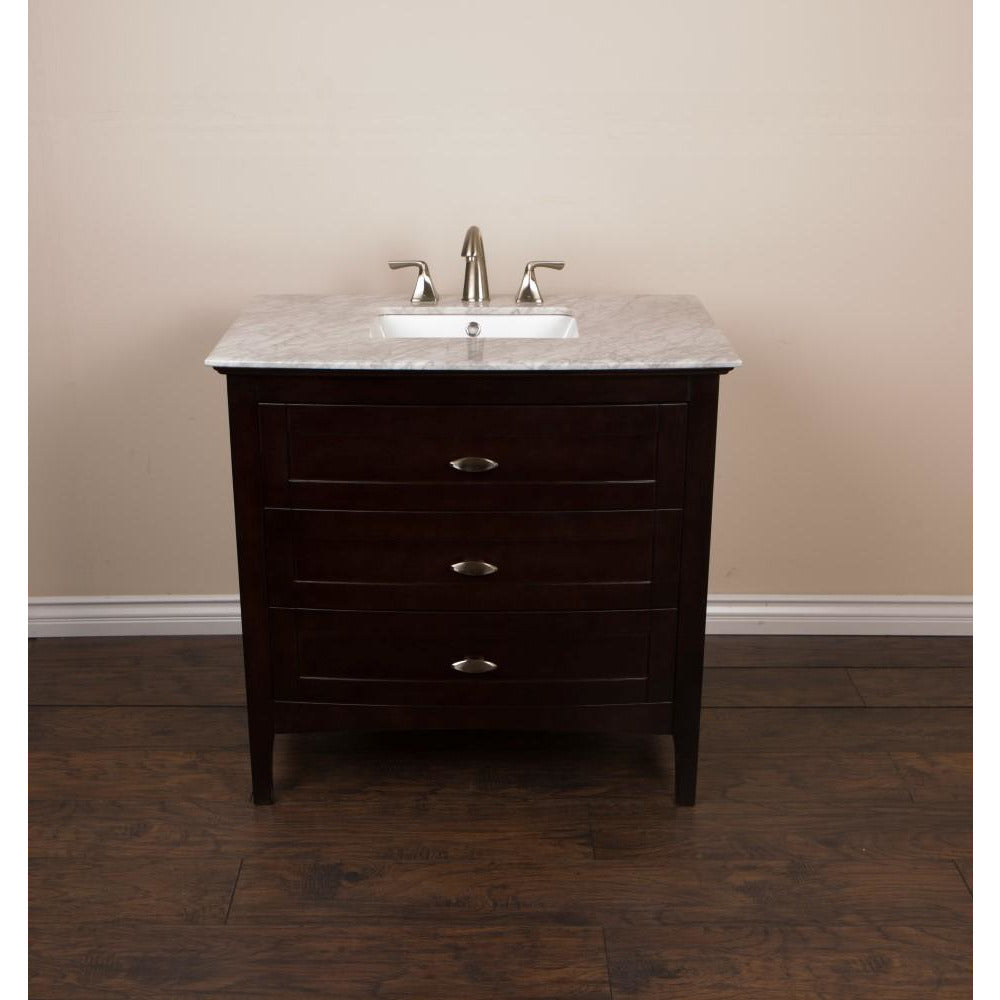36 in Single sink vanity in sable walnut with marble top in white