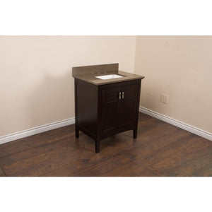 30 in Single sink vanity in sable walnut with quartz top in Taupe