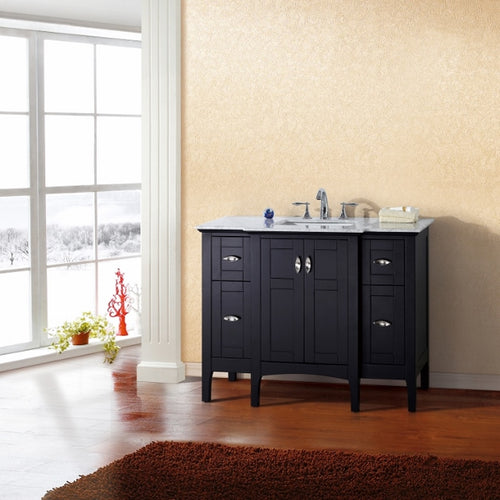45 in Single sink vanity in espresso with marble top in white