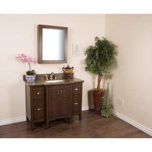 45 in Single sink vanity in sable walnut with quartz top in Taupe