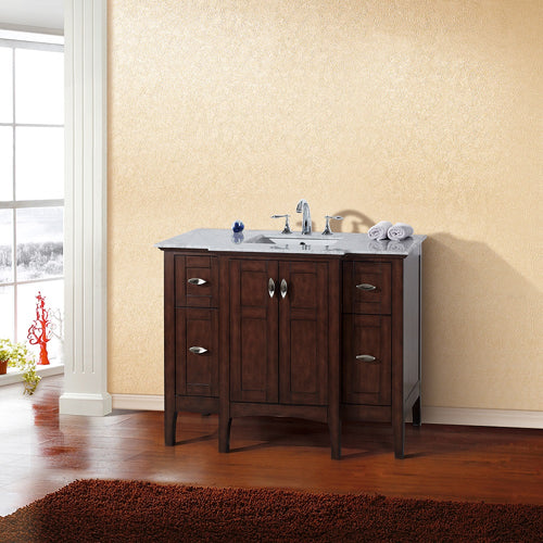 45 in Single sink vanity in sable walnut with marble top in white