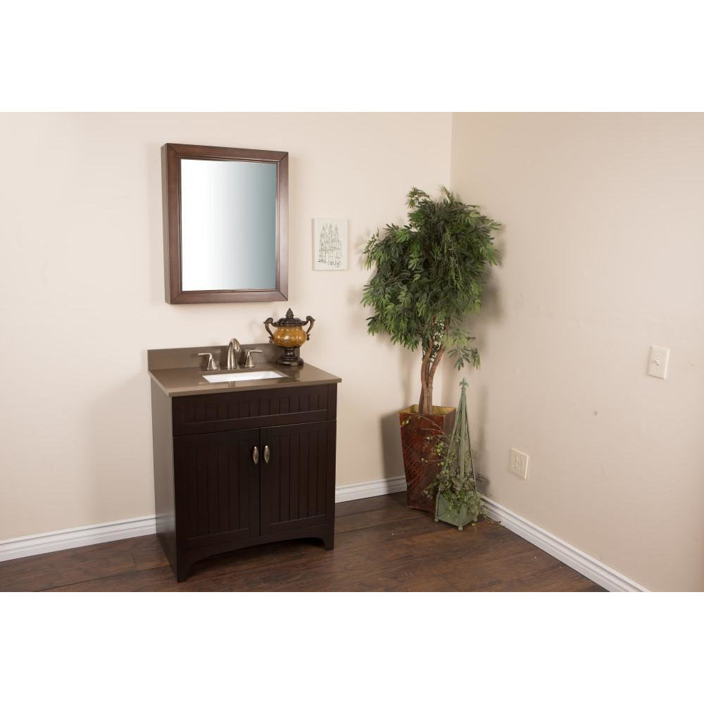 32 in Single sink vanity in sable walnut with quartz top in Taupe