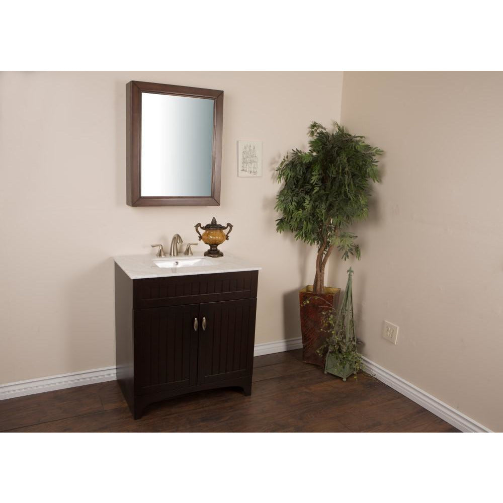 32 in Single sink vanity in sable walnut with marble top in white