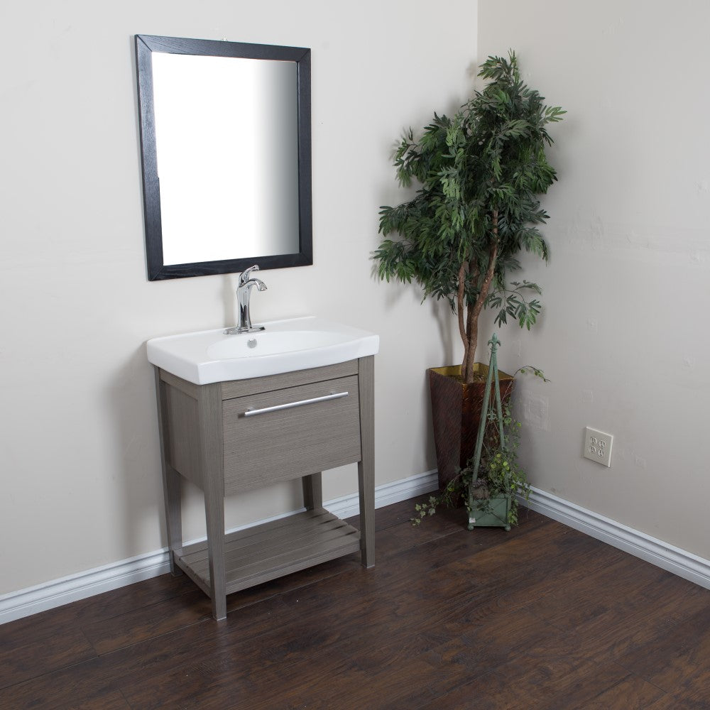 27.5 in Single sink vanity-Wood-Gray