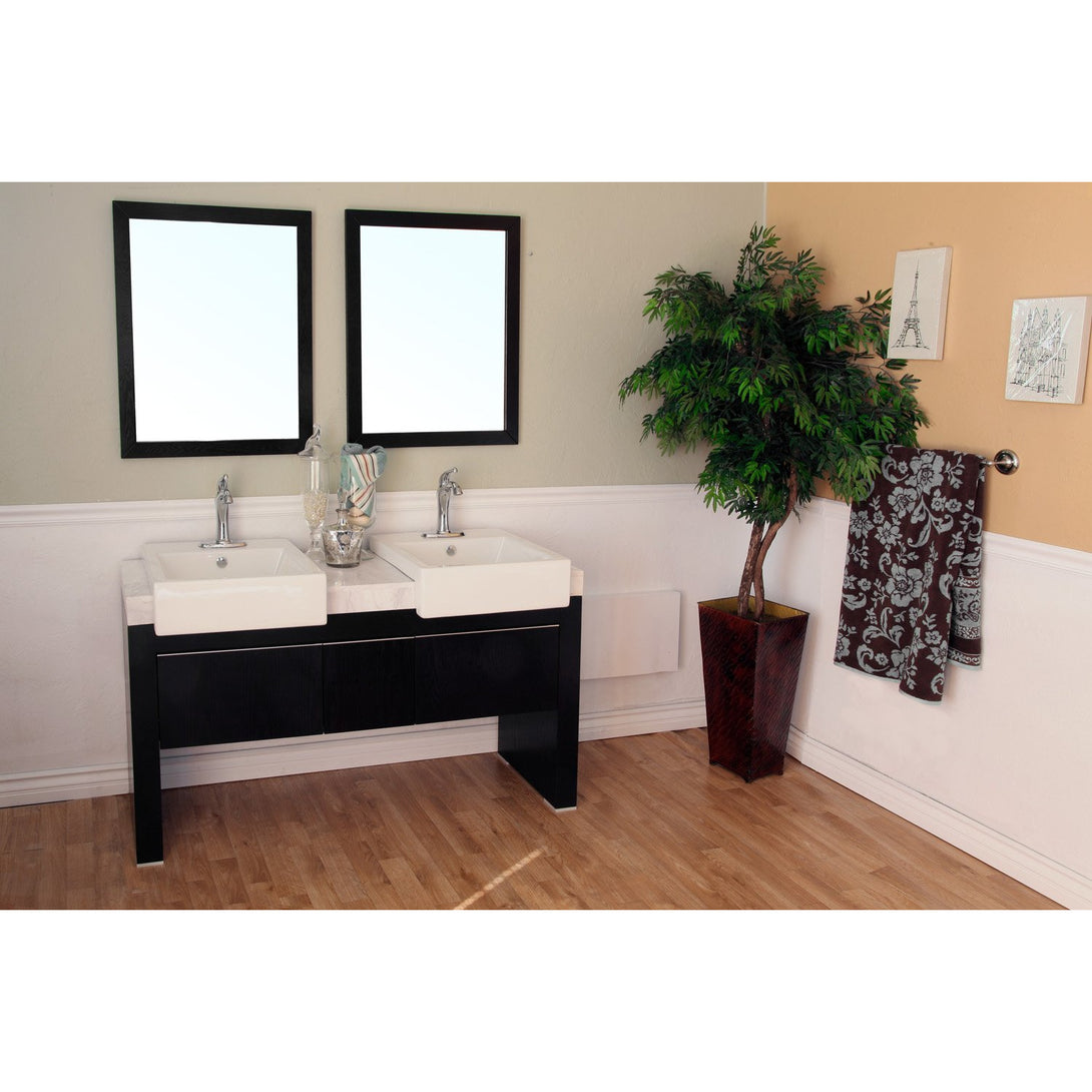 57.75  in Double sink vanity-Wood-black