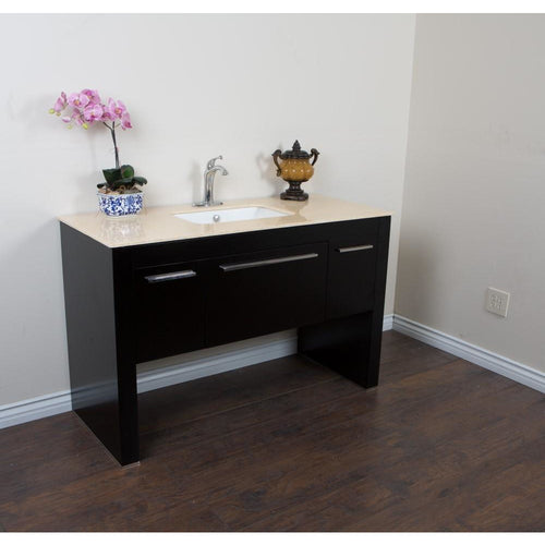 55.3 in Single sink vanity-Black-Cream Marble