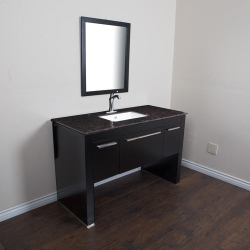 55.3 in Single sink vanity-Black-Tan Brown