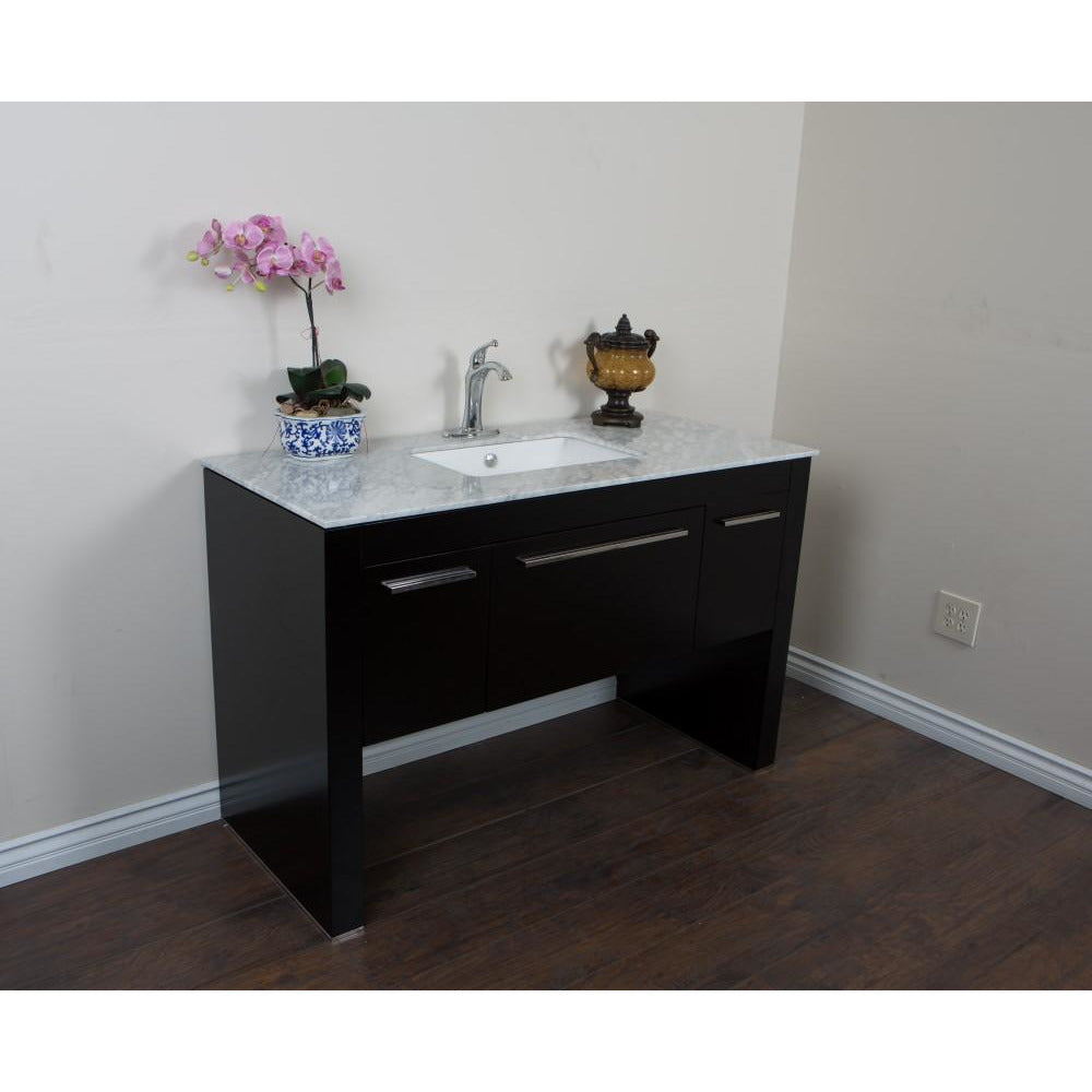 55.3 in Single sink vanity-Black - White Marble